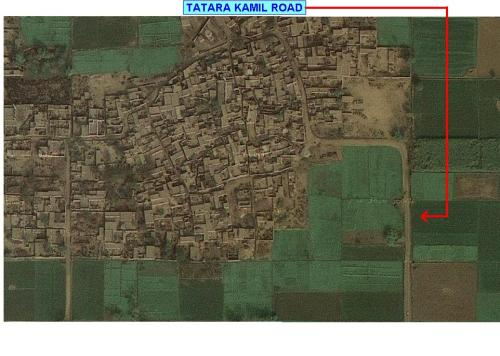 It is the south of Gohar Jagir and the highlighted road leads to Tatara kamil and many other villages.