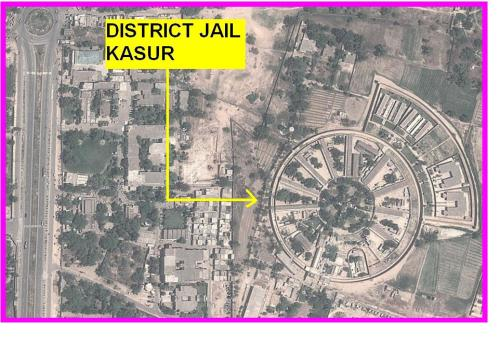 Satellite map of District Jail Kasur. Beautiful design.