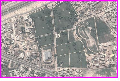 Satellite map of Kasur City garden, park